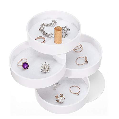 FEIYI Health Care - Caja de almacenamiento para pendientes (4 capas, rotación de 360°, soporte para pendientes