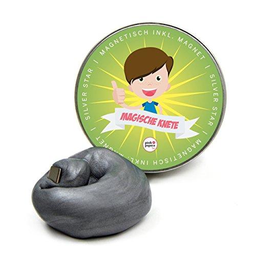 Pink Papaya Magische Knete - Silver Star - magnetische Fidget Knete, BPA Free, Farbe: Silber, das intelligente Knetgummi zur Stressreduktion - in vielen Farben mit verschiedenen Eigenschaften