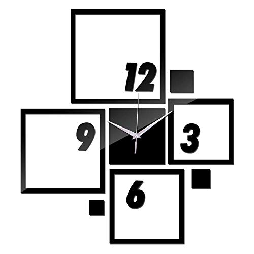JIANGYE DIY Decor Wall Clock, Frame Clock 3D acryl spiegelkwarts stomme foto-art afbeeldingen unieke decoratie make-multi-foto muur sticker klok Arabische cijfers klok