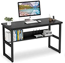 Vordern Computer Desk with Bookshelf Works as Office Desk Study Table Workstation for Home Office (Black)