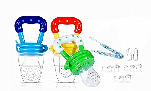 Voarge Fruchtsauger, Fruchtsauger für Baby & Kleinkind Baby Fruchtsauger Schnuller, BPA-frei, Schätzchen Schnuller Gemüse sauger für Schätzchen (Blau-Gelb-Grün)