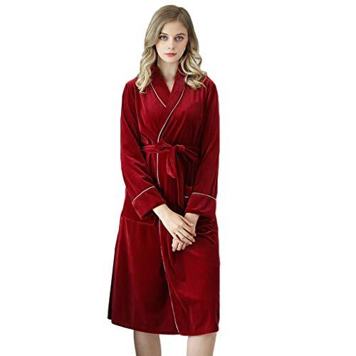 LEEDY Schlafanzug Damen Winter Sexy Und Eleganter Damen Bademantel Schlafanzug V-Ausschnitt