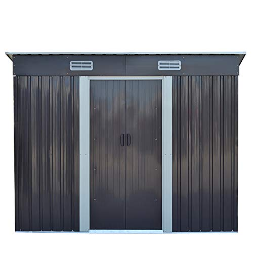FIDOOVIVIA Outdoor Metal Garden Storage Shed Box Waterproof Anti-corrosion with 2 Sliding Doors, 4 Vents and Floor Foundation(4Ft X 8Ft, Grey)
