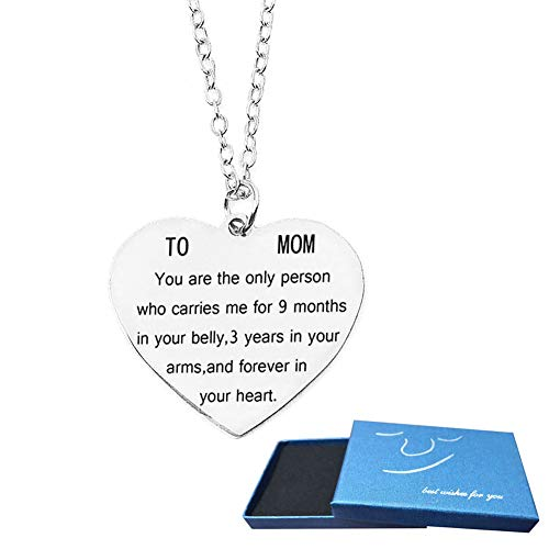 Gifts for Mom Women You are The Only Person Heart Pendant Necklace Mother Gifts Charm Necklace Gifts for Mom from Son Daugter Mother's Day Gifts Birthday Christmas Gifts for Mother