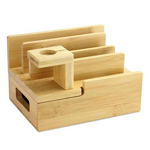 Stazione di ricarica in bambù | Supporto di ricarica mobile | Desk Tidy | Docking station per dispositivi | Compatibile con più dispositivi | M & W