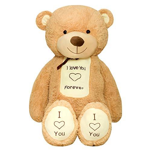 TEDBI Teddybär 200cm | Farbe Hellbraun | Groß Teddy Bear Plüschbär Stofftier Kuscheltier Plüschtier XXL Herz Teddi Bär mit Stickerei I Love You Forever Ich Liebe Dich für Immer