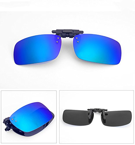 Buy Bargain 1pair Adult Blue Folder Sunglasses Clip On Flip up Glasses Sun UV 400 Protective for Dri...