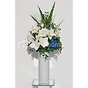 Silk Blooms Ltd Artificial White Fresh Touch Amaryllis and Blue Orchid Flower Arrangement w/Foliage and White Vase