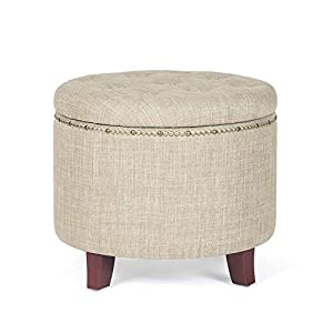 "Material: button tufting microfiber (flannelette) | solid wood Dimensions: length 19 6 * width 19 6 * Height 17 inches; Height of Seat: 16 93"" Quality: cushioned Top and cover provide softness and comfort, embedded solid wood offers stability and dur..."