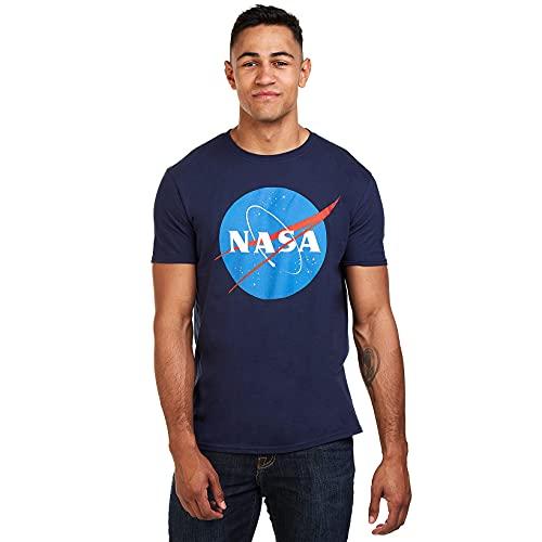 Nasa Circle Logo T-Shirt, Blu (Navy Navy), Large Uomo