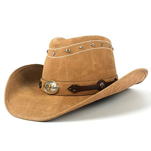 QWF Cowboyhut Herren Kuhleder Schwarz Bandana Boy Wear Hüte für Frauen Jazz Hat Gentleman