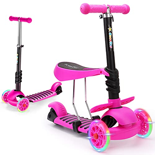 WPHUAW 3 Wheel Toddler Scooter for Kids Ages 2-8 Years Old with Flash Wheels, Height Adjustable Lean to Steer Handlebar, Removable Seat,Back Wheel Brake ,160 Lbs Capacity for Boys and Girls -Pink