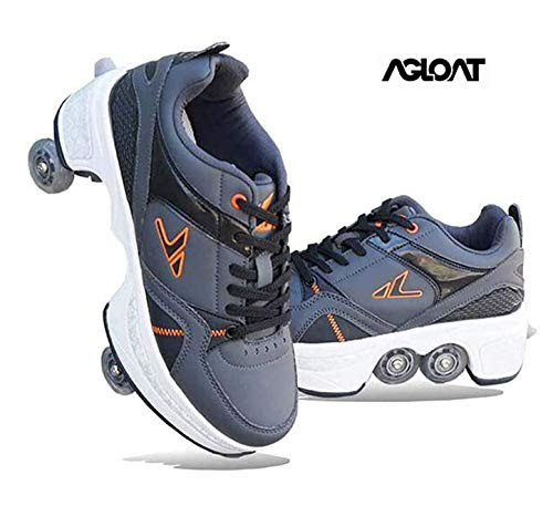 ✔ Two-in-one sports shoes are different from traditional sports shoes on the market. Not only can you skate, but you can also run.,✔ Shoes material: microfiber, rubber sole, PU wheels.,✔Foot protection: Multi-function sports shoes use conventional shoelaces, which can be adjusted to make them comfortable. It is recommended that you tie your shoelaces when skating to ensure safety.,✔ Mechanical test: According to the mechanical structure, the heel support can provide additional damping force and a higher safety factor, which is very suitable for beginners.,✔ Unique invisible button design: buttons on the back of the shoe. Press it and the wheel opens. Press and hold the button, push the wheel into the bottom plate, then release