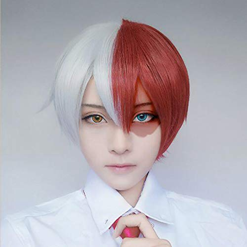 Baruisi Half White Half Red Short Cosplay Wig for Halloween Synthetic Anime Hair Wig with Wig Cap