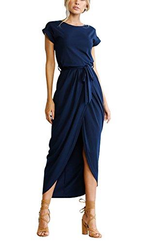 RUIGO Damen Kurzarm Strapping Taille Schlitz Partei-Kleid-Maxi langes Abendkleid Boho Maxikleid (EU36/M, Dunkelblau)