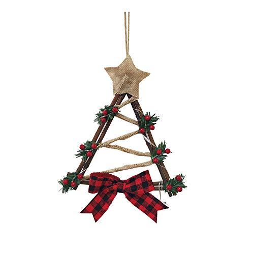 Ratán Bowknot de Garland con luz LED cristal de la puerta exterior del árbol de Navidad Decoraciones de interior Para el hogar del partido Adornos Triángulo