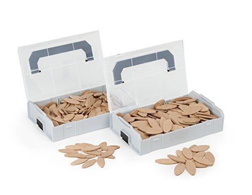Flachdübel von WFix | Größe 10 & 20 je 200 Stk. | Buchen Dübel in L BOXX | Kompatibel mit Dübelfräse & Lamellofräse | Holzdübel wie Lamello