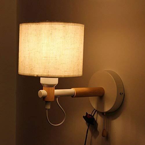 XFZ moderne wandlamp van hout met kap van stof ter bescherming van de ogen, wandlamp voor badkamer Corridoio wandlamp