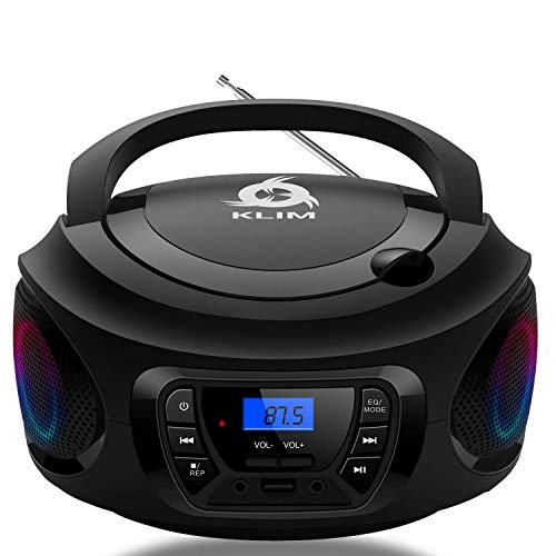 KLIM CD Boombox Portable Audio, FM Radio, Rechargeable Battery, Bluetooth, MP3 and AUX. Equipped with Neodymium Speakers, [2020 Release] Upgraded CD Laser Lens.