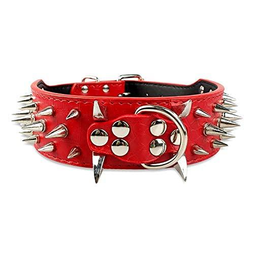 XBSXP Collar de Perro Collar de Bulldog con Pinchos Collar de Perro Anti-mordedura Bullfight Bully Collar de Remache de Piel de Vaca Durable Durable Pull Cadena para Perros medianos y gr