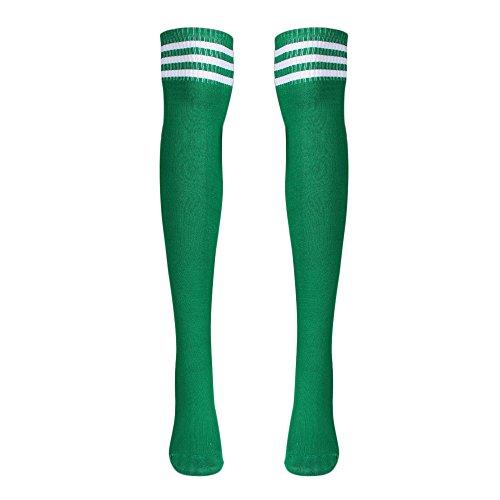 DOGZI Mujer Medias raya Calcetines largos de fútbol Acerca de los calcetines De punto de arco iris Invierno Para calentar Calcetines largos Muslo altas Algodón Calentar calcetines antideslizantes