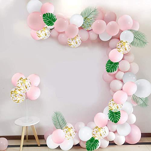 Roze ballon slinger kit met gouden Confetti ballonnen decoratieve bladeren voor partij decoraties (108sts)