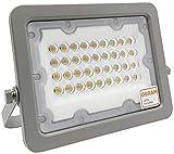 Foco LED Exterior OSRAM 30W 50W 100W 150W 200W, IP65 Luz Cálida 3000K, Proyector AVANT Slim para terraza, jardin, patio. (30)
