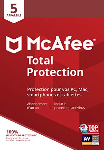 McAfee Total Protection 2020 5 Appareils   1 An   PC/Mac/Android/Smartphones   Code d'activation - envoi par la poste