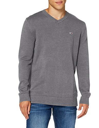 Tommy Hilfiger Tjm Essential V-Neck Sweater Maglione, Colore: Grigio Scuro, M Uomo