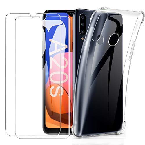 SMYTU Hülle mit 2 Panzerglas für Samsung Galaxy A20s,Ultra Slim Silikonhülle Durchsichtig Handyhülle Flexible TPU Crystal Hülle Cover Bumper Schutzhülle für Samsung Galaxy A20s -Clear