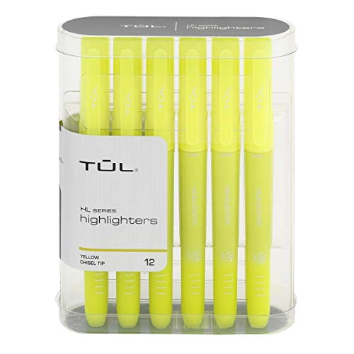 TUL Highlighters, Chisel Point, Fluorescent Yellow Barrel, Fluorescent Yellow Ink, Pack of 12 Highlighters