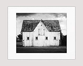 Black and White Modern Farmhouse Wall Art Decor Photography Print  Not Framed  Rustic Country White Barn Landscape Artwork Print Only or Matted Print  8x10 Print with 11x14 Mat