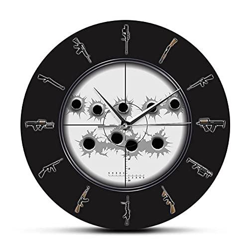 30 cm Reloj de Pared Vista de Francotirador con Agujeros de Bala Arte de Pared Militar Reloj de Pared Colgante Variedad de Armas Reloj de Pared Hombre Cueva Ejército Decoración de Pared