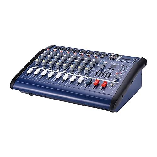 Feixunfan Mezclador de audio de 8 canales, amplificador de consola de mezcla de audio digital con 48 V Phantom Power USB/SD...
