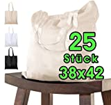 Bolsa de algodón para pintar 38x42 - 25 piezas naturala para niños con asa CORTA - sin imprimir certificado OEKO-TEX® - bolsa de tela, bolsa de transporte, bolsa de compras de 140g / m de grosor