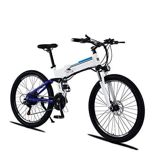 YIZHIYA Bicicletta Elettrica, 27,5' Bicicletta elettrica da Montagna Pieghevole per Adulti, E-Bike 21 velocità, Doppio Sistema di Assorbimento degli Urti, 3 modalità di Lavoro,White Blue,48V 500W 9AH
