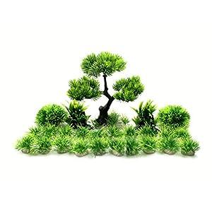 BEGONDIS Artificial Aquarium Green Water Plants Tree Set 25 Pcs, Fish Tank Aquarium Decorations (Set 2)