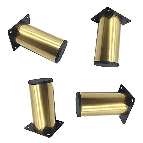 WYBW Pies de soporte para muebles, Patas de muebles, Patas de sofá de hierro para bricolaje, Elevador de muebles de metal, Patas de gabinete de cromo dorado, Accesorios de hardware de cocina, baño (4
