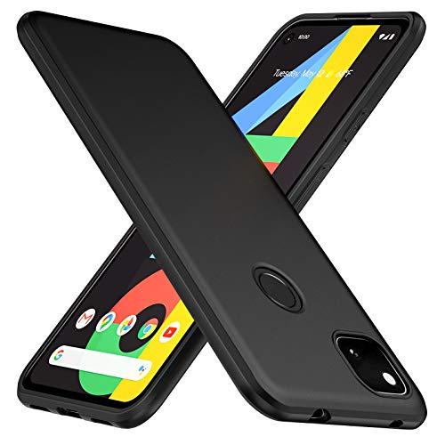 TesRank Google Pixel 4a Hülle, Matte Oberfläche Soft Hüllen [Ultra Dünn] [Kratzfest] TPU Schutzhülle Hülle Weiche Handyhülle für Google Pixel 4a-Schwarz
