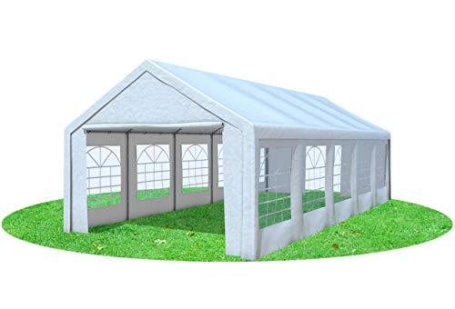 Stabilezelte Partyzelt 4x9 Classic Premium PVC 400 g/m² wasserdicht inkl. Seiten Festzelt Gartenzelt Weiß