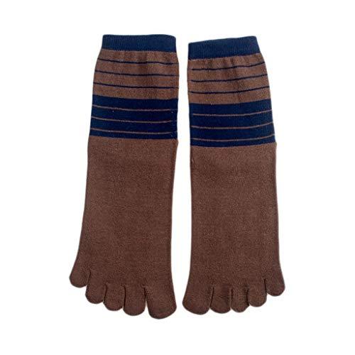 Los hombres del algodón del dedo del pie calcetines a rayas ocasionales punta-Cinco sudor absorbente de Split Toe Calcetines de hombre Calcetines otoño y del invierno en caja Mecha ( Color : Brown )