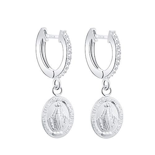 Iyé Biyé Jewels - Pendientes Aros Virgen Milagrosa 13mm Mujer Niña Plata de Ley 925 Cierre Clip