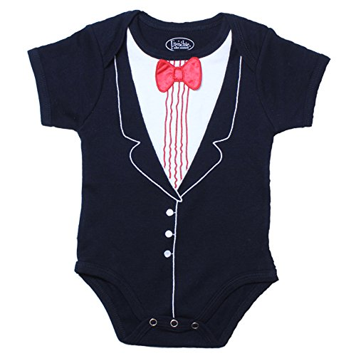 Infant TuxedoBaby Bow Tie - 100% Cotton Tux, Red Bowtie Baby Suit,6 Months