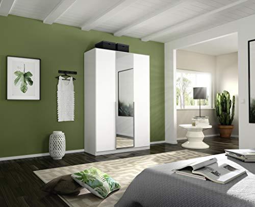 Rauch Möbel Alabama Schrank Kleiderschrank Drehtürenschrank in Weiß mit Spiegel 3-türig inklusive Zubehörpaket Basic 2 Kleiderstangen, 2 Einlegeböden BxHxT 136x210x54 cm