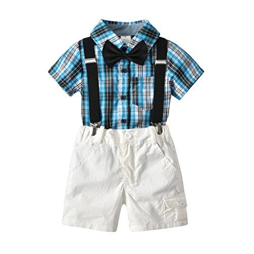 JEELINBORE Baby Jungen Outfit Set Gentleman Hemd + Shorts + Hosenträger + Bowtie 4Pcs Bekleidungssets Taufe Smoking Hochzeitsanzug (Grün, 80)
