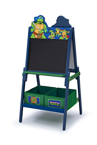 Delta Children Wooden Double-Sided Kids Easel with Storage -Ideal for Arts & Crafts, Drawing, Homeschooling and More, Ninja Turtles