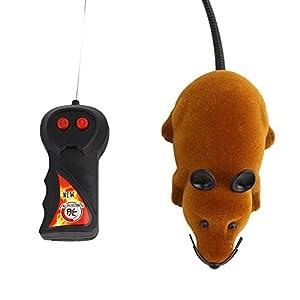 Yosoo Mini juguete ratón RC Rat 2-voies 27MHz con mando a distancia para gato gatito animales y niños 3años 6