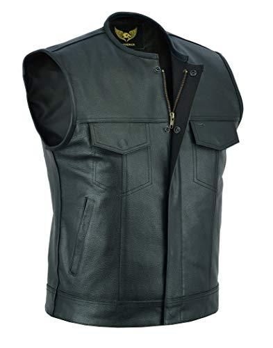 DP Vests Men's SOA Collarless Leather Vest Motorcycle Biker Club Concealed Carry Outlaws (X-Large) Black