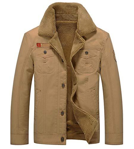Fuwenni Men's Winter Sherpa Fleece Lined Jacket Military Cargo Jacket Outerwear Warm Cowboy Coat Khaki M