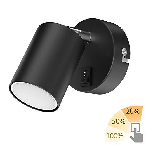 ledscom.de Wandspot WAIKA, einflammig, mit Schalter, GU10, schwarz matt, inkl. GU10 LED Lampe,warm- weiß, 3-Stufen Dimmen ohne Dimmer mit Lichtschalter: je 540lm / 270lm / 110lm